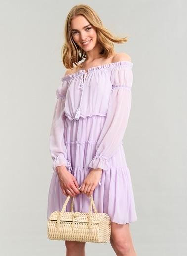 Agenda Omuzları Açık Elbise Lila